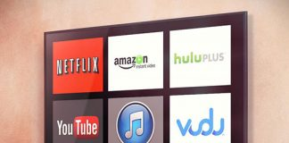 Image shows a tv with streaming services. Used in article describing online game streaming